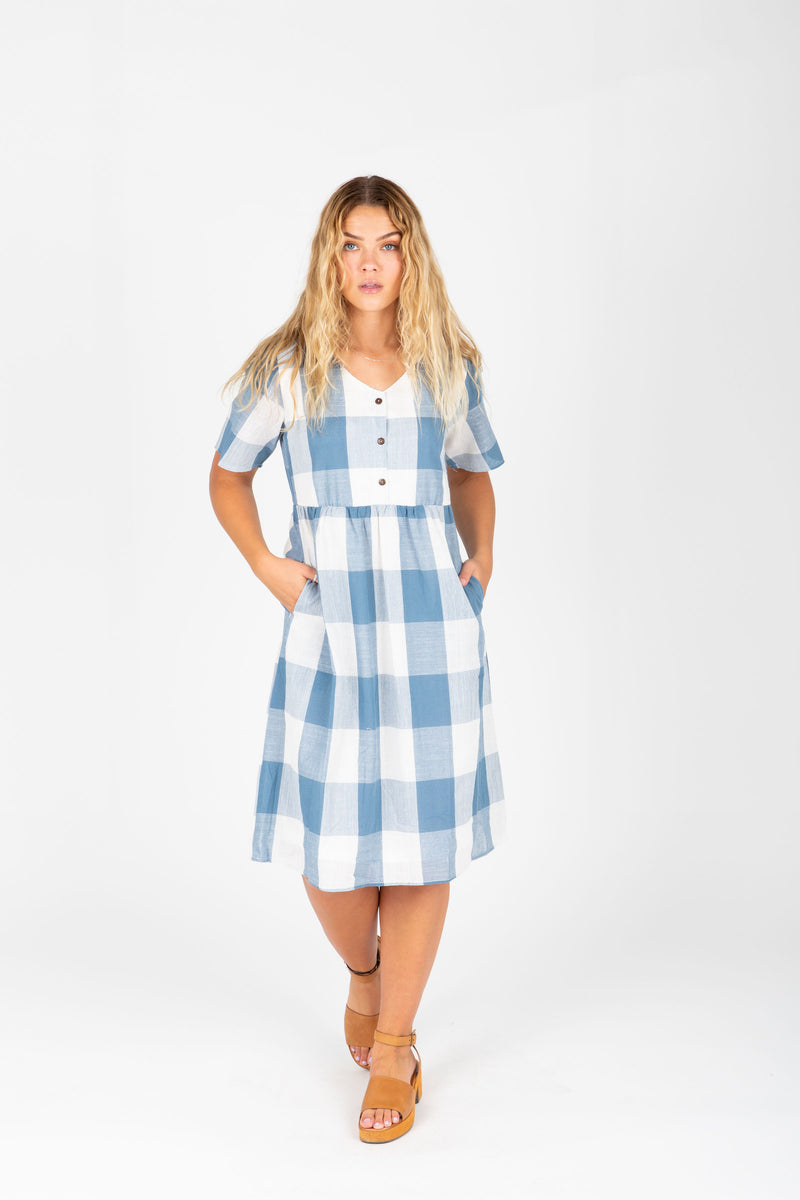 The Ethan Gingham Dress in Denim, studio shoot; front view
