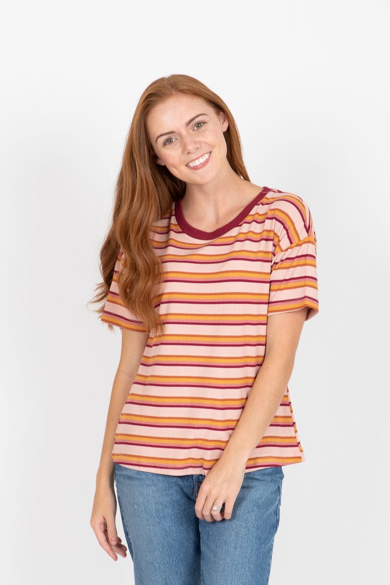 The Charlize Striped Ribbed Tee in Mauve