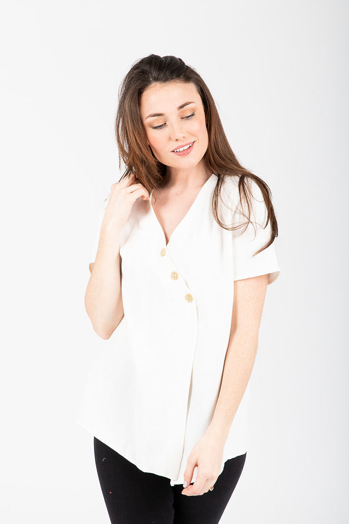 The Spangle Button Casual Blouse in Cream