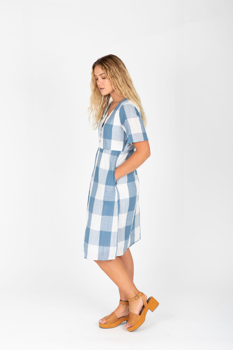 The Ethan Gingham Dress in Denim, studio shoot; side view
