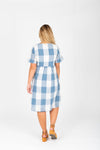 The Ethan Gingham Dress in Denim, studio shoot; back view