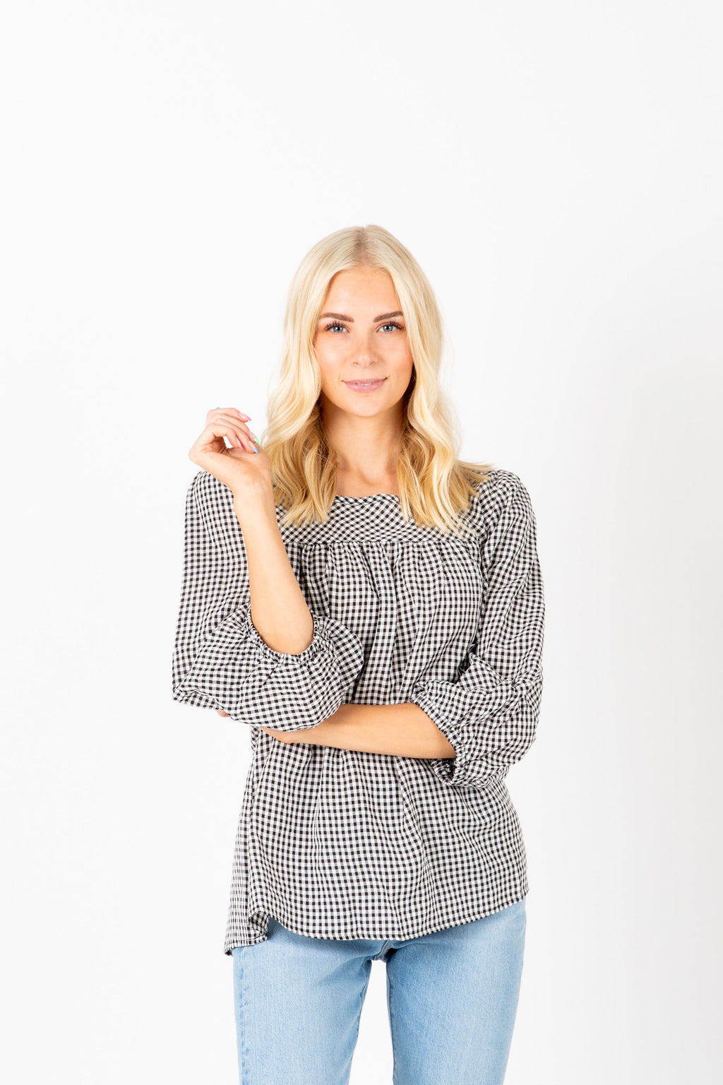 The Melissa Gingham Blouse in Black, studio shoot; front view