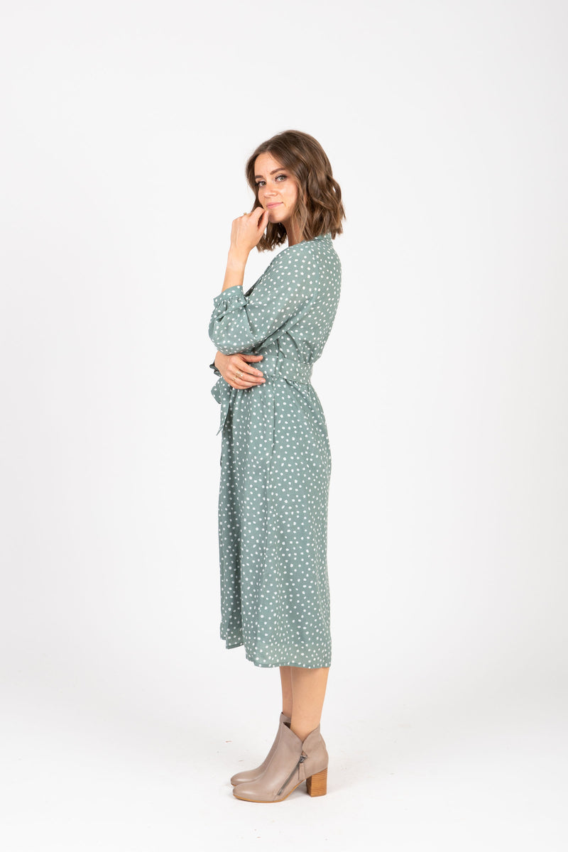 The One Patterned Collared Dress in Sage, studio shoot; side view