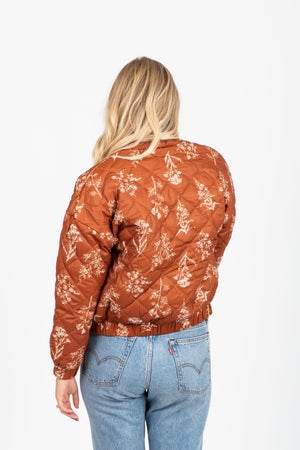 The Shifter Floral Puff Bomber in Rust