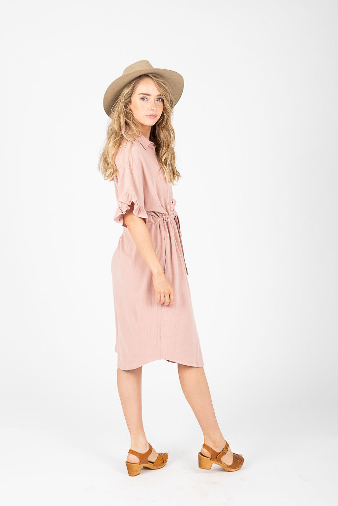 The Captive Linen Ruffle Dress in Blush