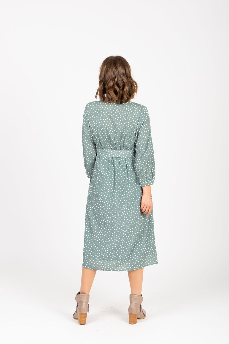 The One Patterned Collared Dress in Sage, studio shoot; back view