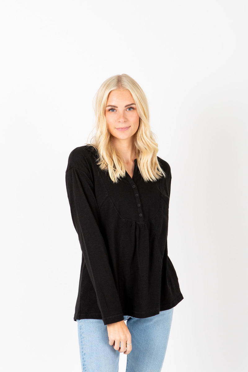 The Adam Snap Empire Blouse in Black, studio shoot; front view