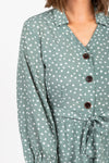 The One Patterned Collared Dress in Sage, studio shoot; closer up front view