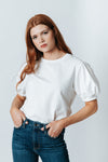 The Logan Puff Sleeve Blouse in White