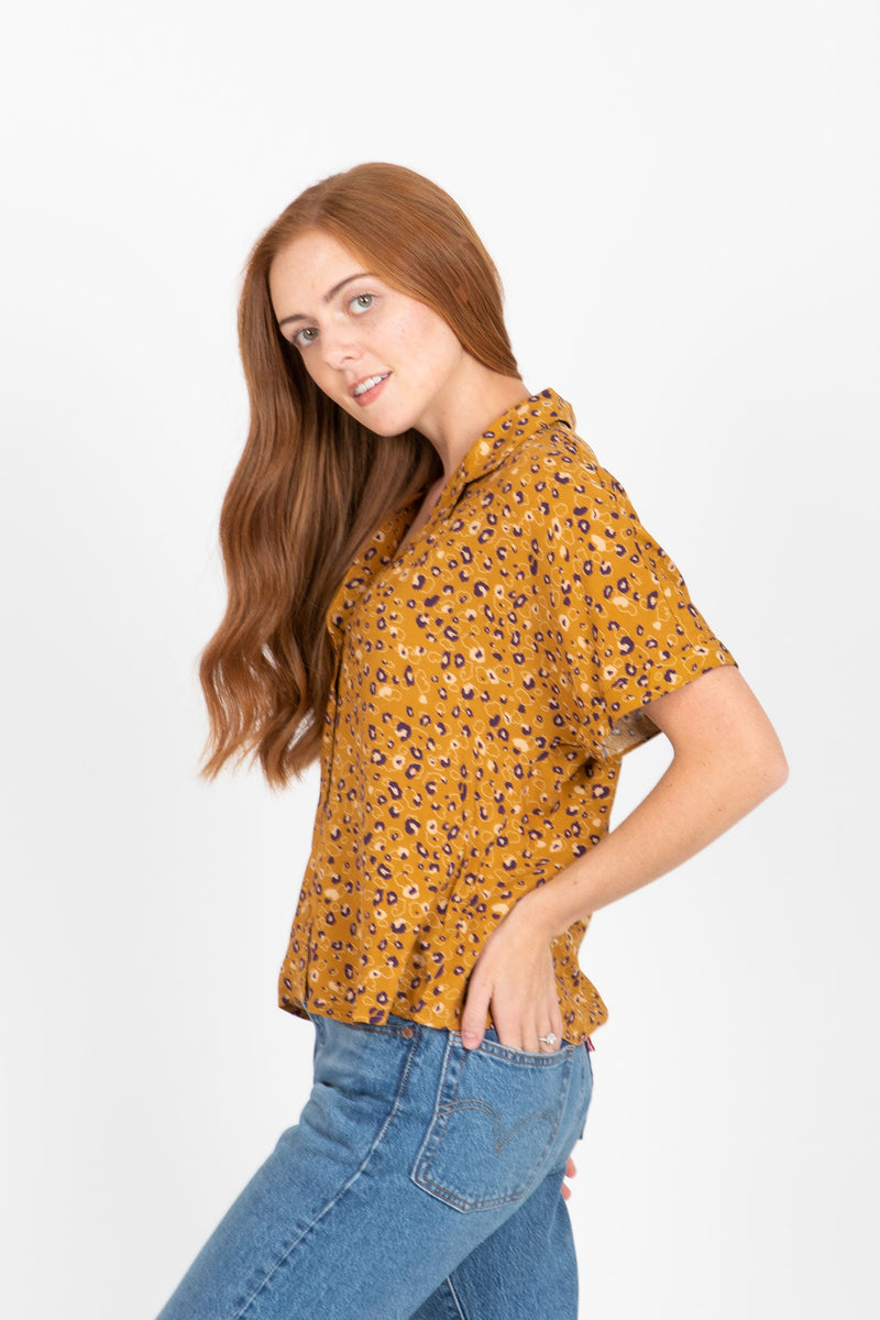 The Circo Floral Button Up Blouse in Eggplant