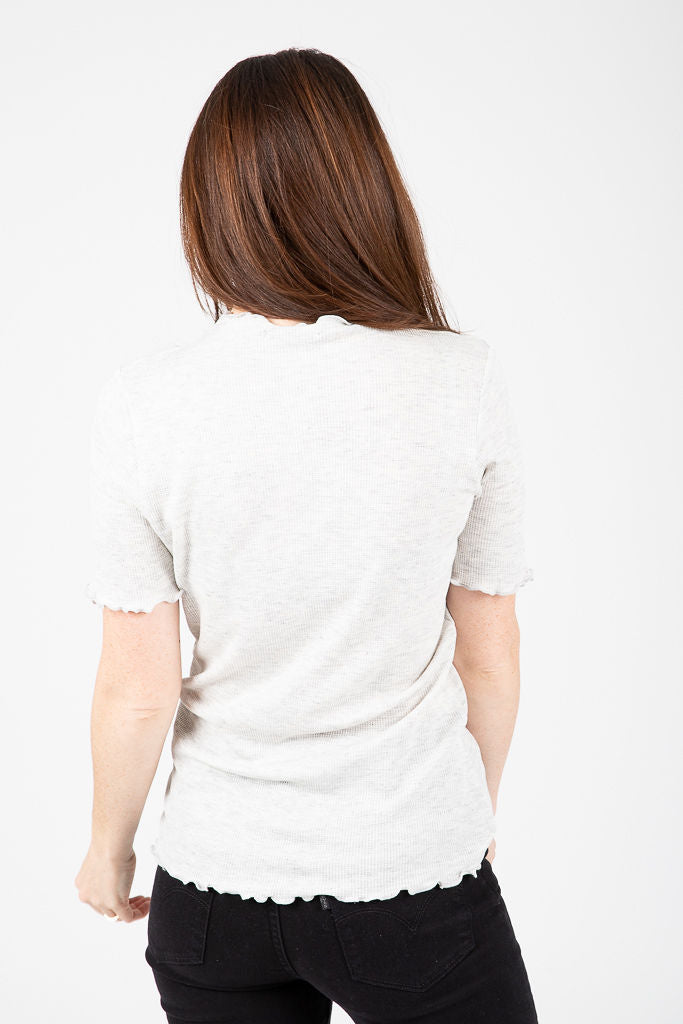 The Verona Ribbed Mock Neck Blouse in Heather Grey