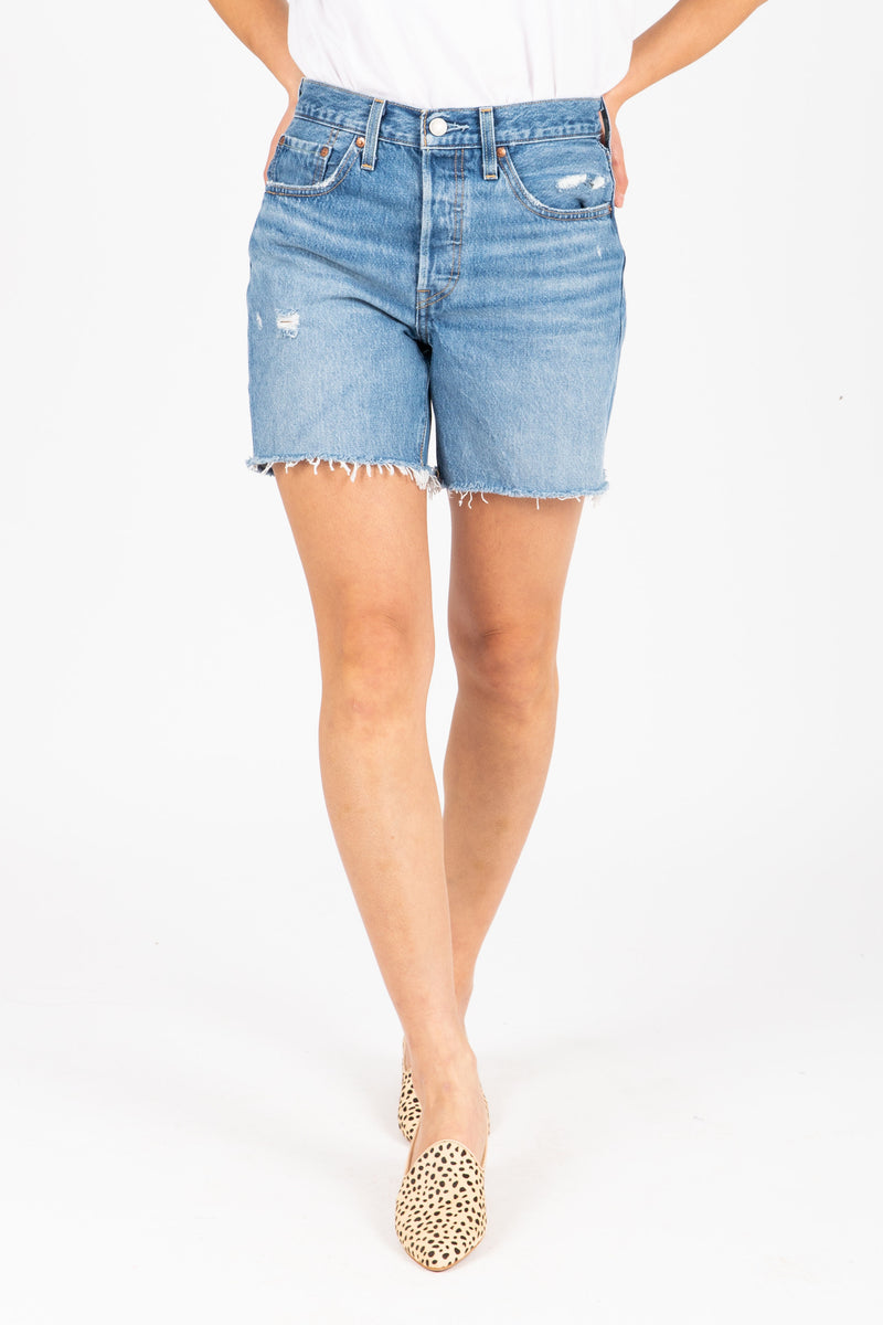 Levi's: 501 Mid Thigh Street Short in Luxor, studio shoot; front view