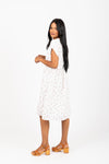 The Bead Floral Empire Dress in White