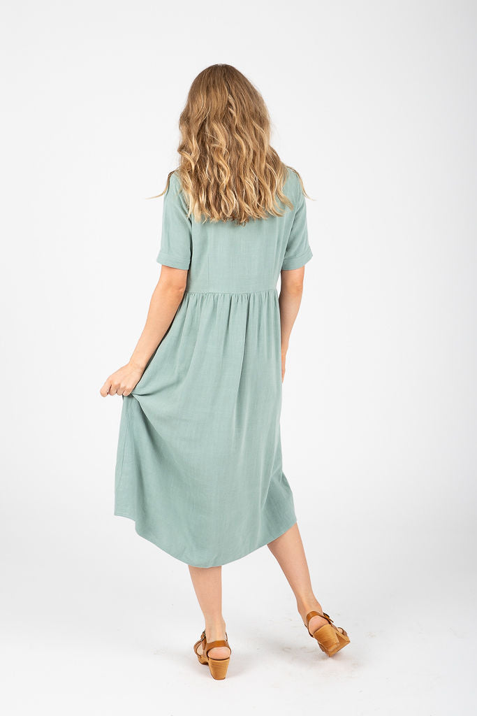 The Toledo Button Pocket Dress in Olive