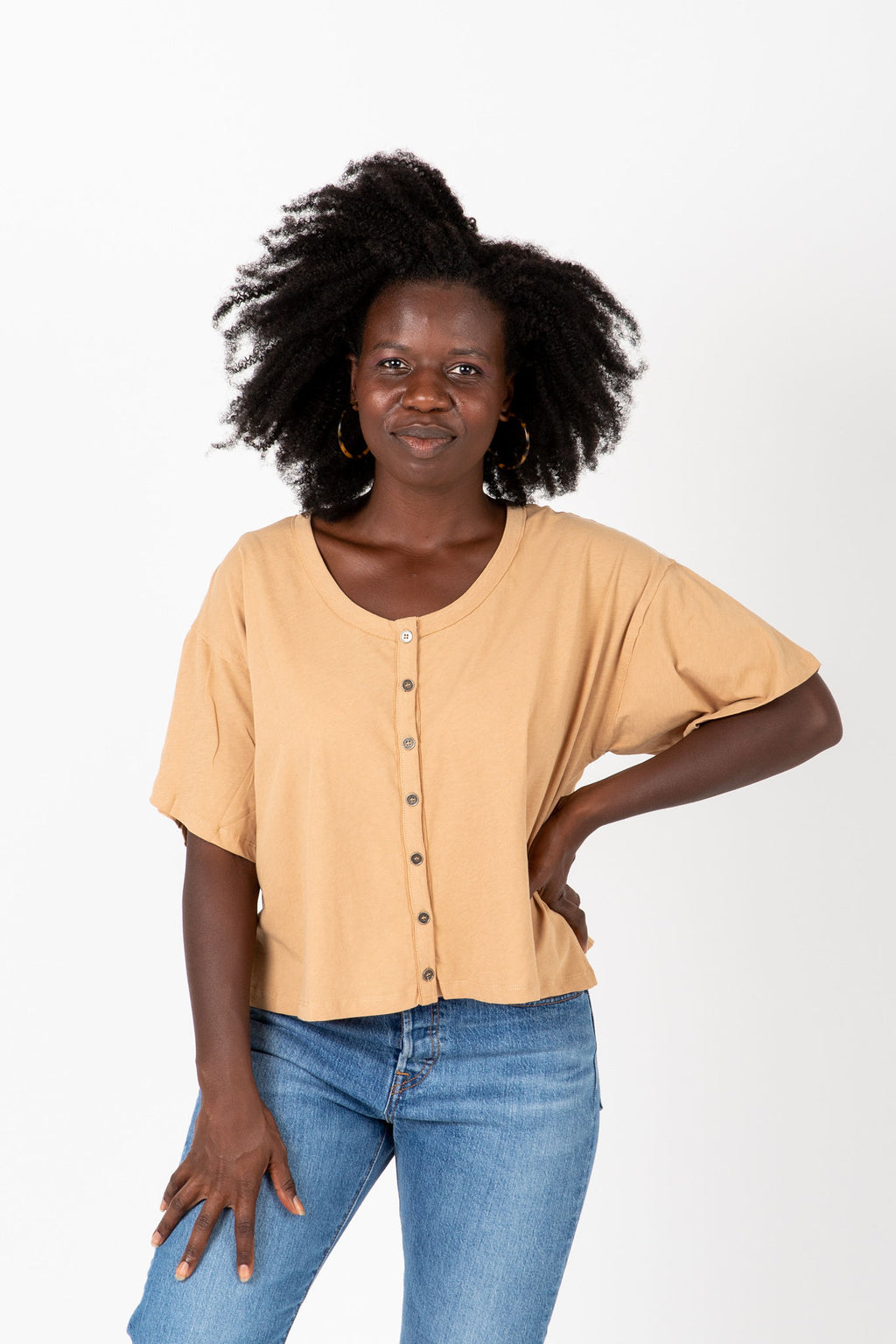 The Jay Button Tee in Taupe, studio shoot; front view