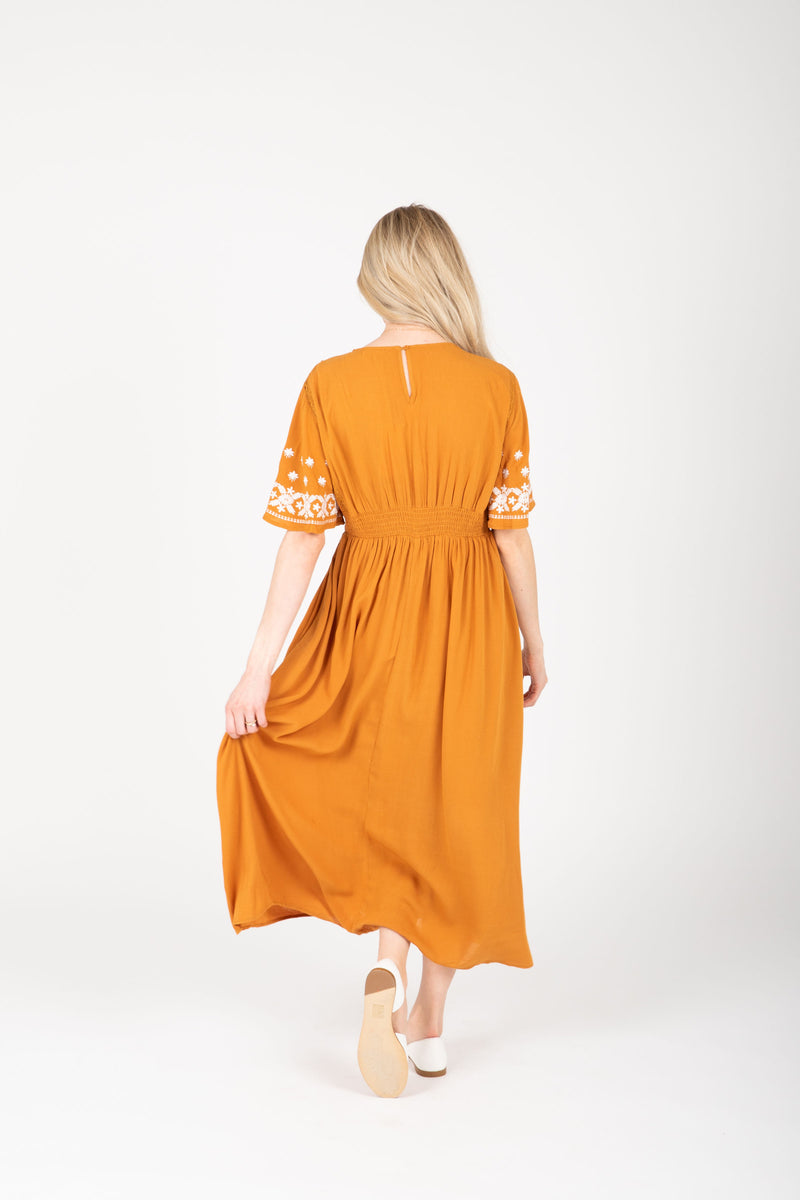 The Cadence Embroidered Detail Dress in Golden, studio shoot; back
