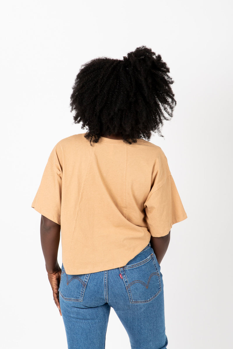 The Jay Button Tee in Taupe, studio shoot; back view