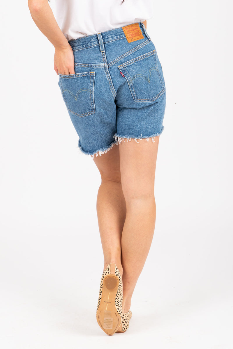 Levi's: 501 Mid Thigh Street Short in Luxor, studio shoot; back view