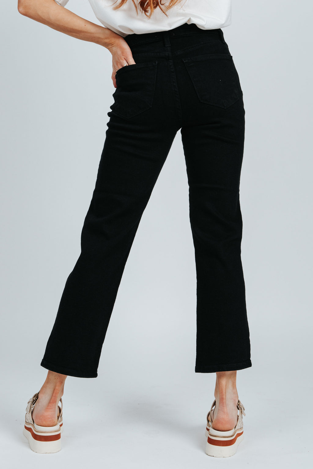 Letter To Juliet: The Siena High Rise Straight Jean in Black, studio shoot; back view