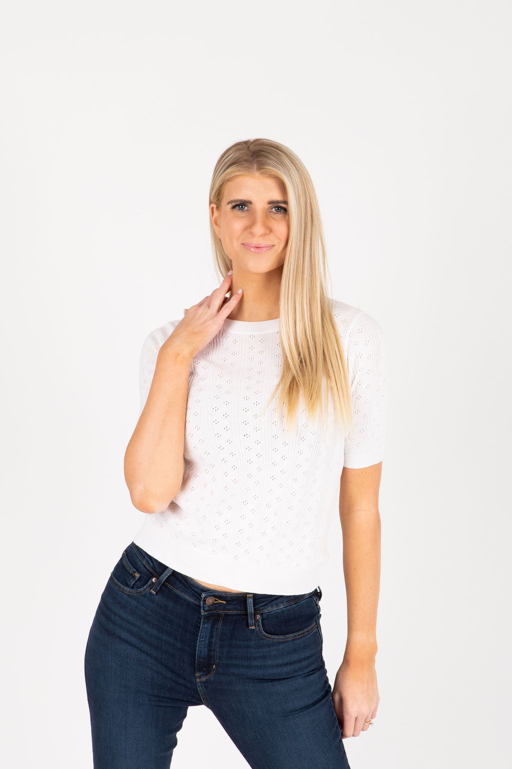The Howard Knit Sweater Blouse in Ivory, studio shoot; front view