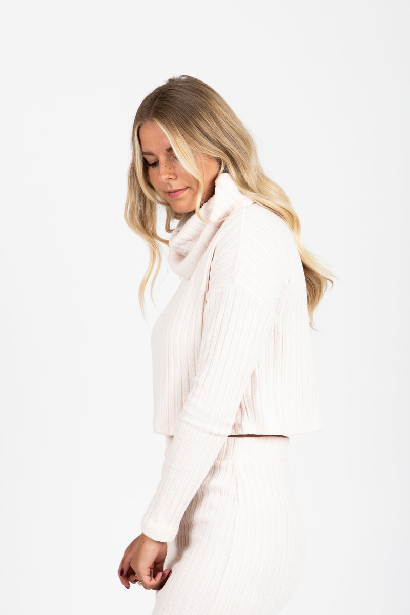 The Sutherlin Ribbed Cowl Neck in Cream