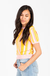 The Wedge Vertical Striped Blouse in Sunshine