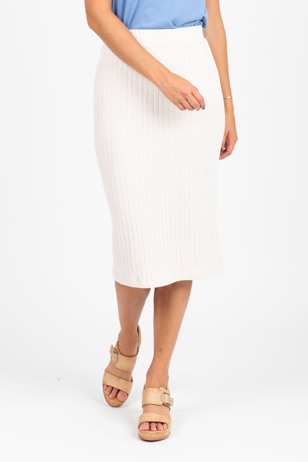 The Record Ribbed Pencil Skirt in Cream