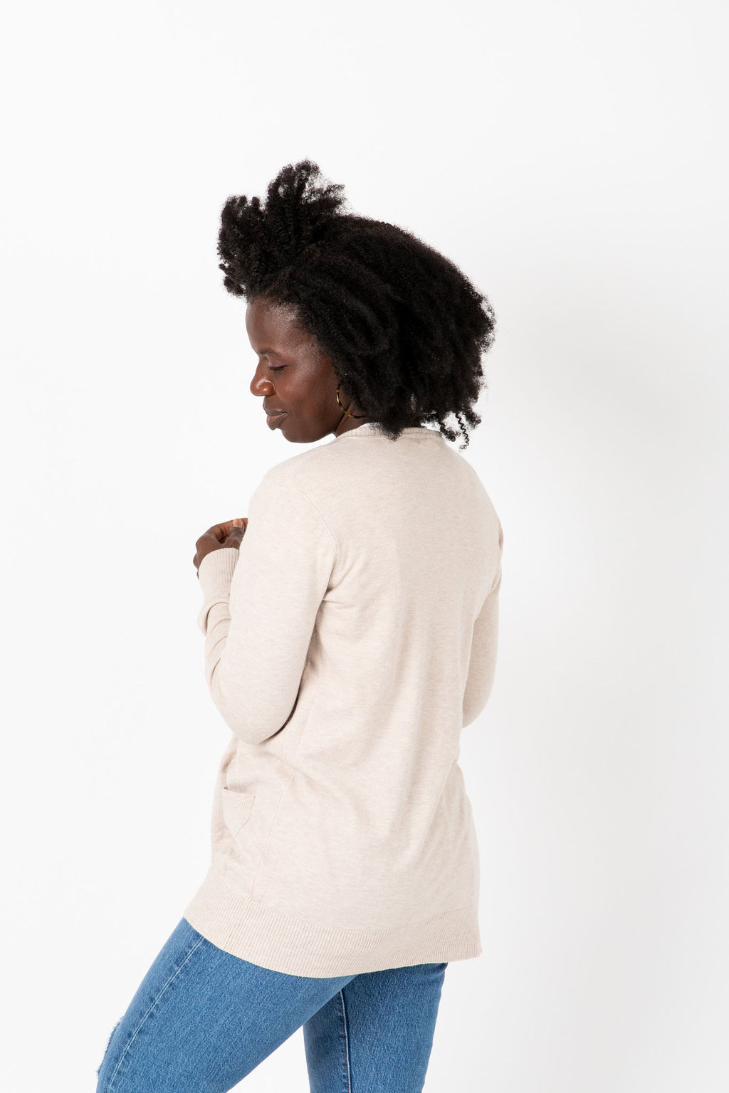 The Bernadette Casual Soft Cardigan in Grey, studio shoot; side view