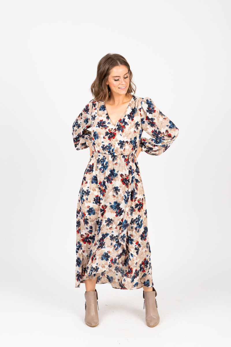 The Well Floral Wrap Maxi Dress in Taupe, studio shoot; front view