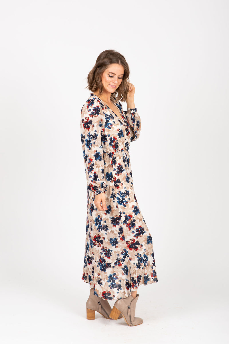 The Well Floral Wrap Maxi Dress in Taupe, studio shoot; side view