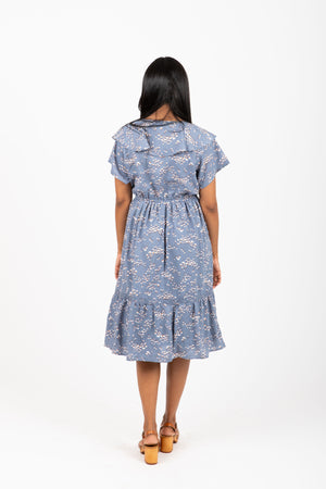 Piper & Scoot: The Dutchess Floral Ruffle Dress in Blue