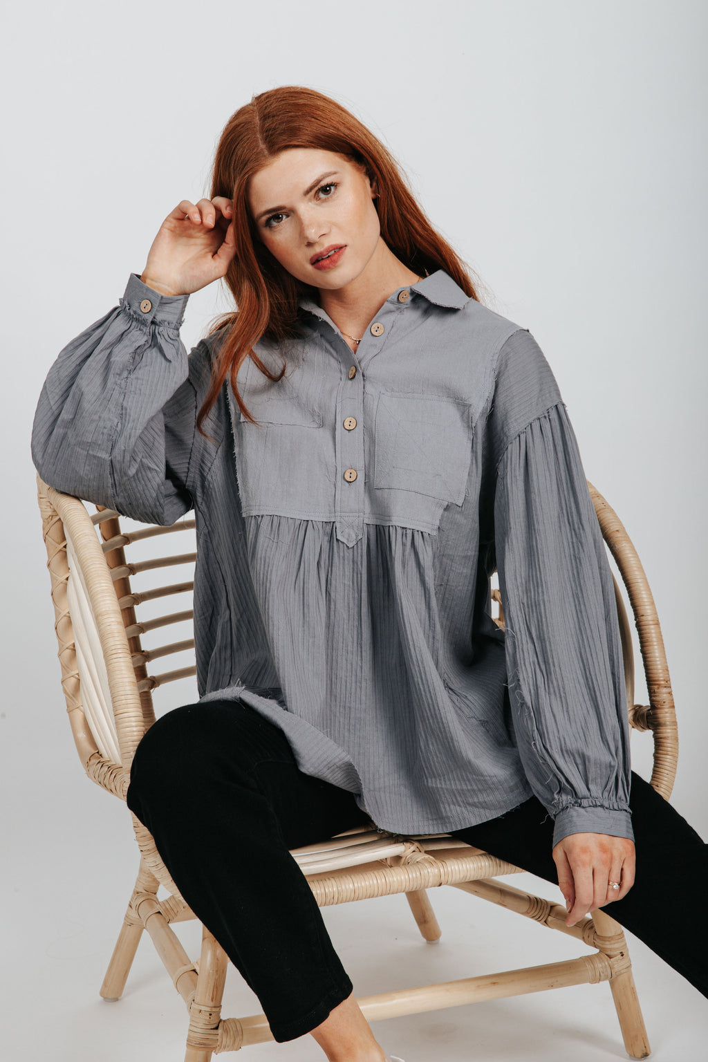 The Michael Textured Blouse in Blue Grey, studio shoot; front view
