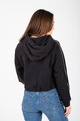 Levi's: Cropped Graphic Cinched Hoodie in Mineral Black/White