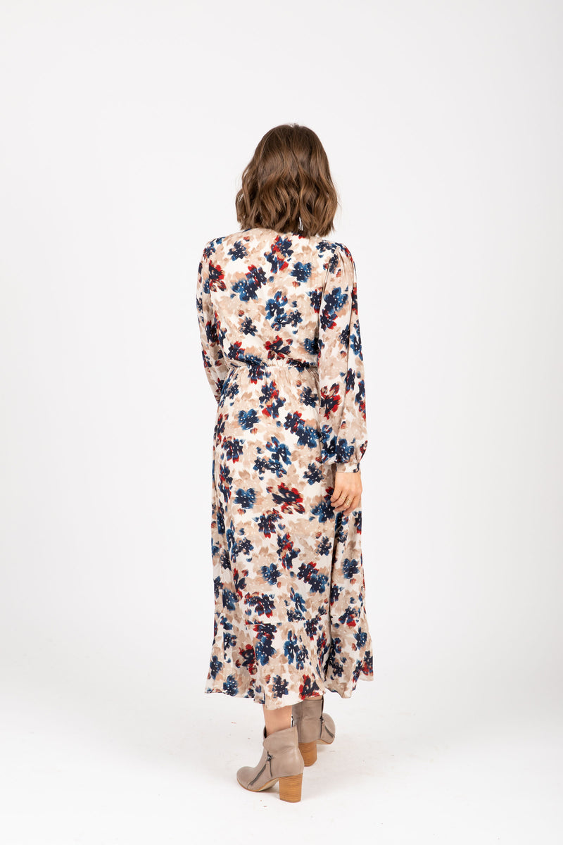The Well Floral Wrap Maxi Dress in Taupe, studio shoot; back view