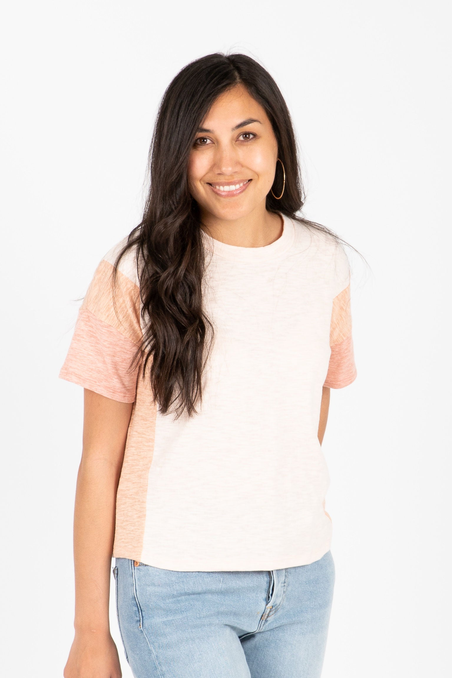 The Ruddy Colorblock Tee in Peach