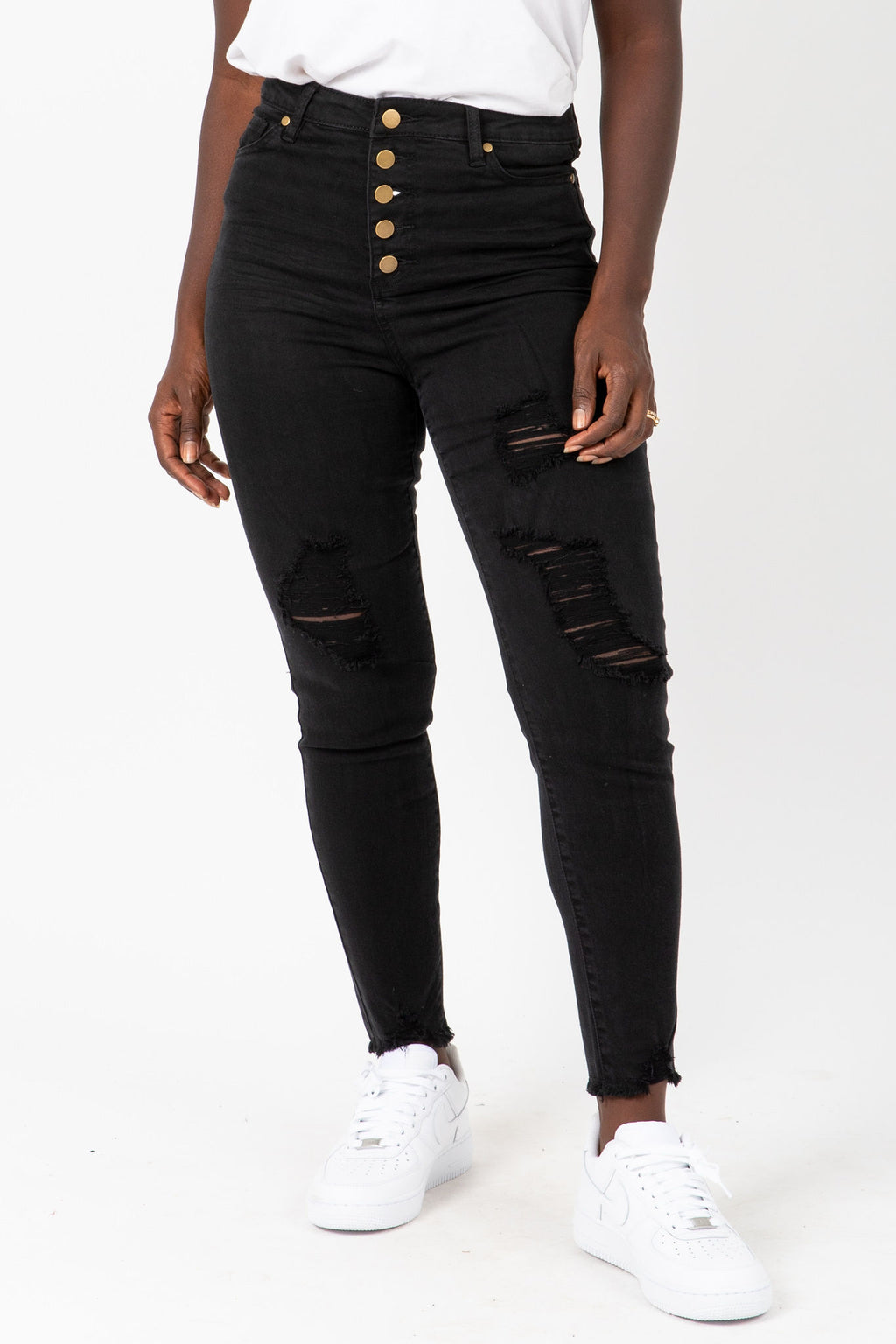 The David Front Button Jeans in Black, studio shoot; front view