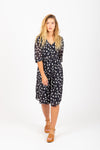 Piper & Scoot: The Fullmer Floral Dot Dress in Navy
