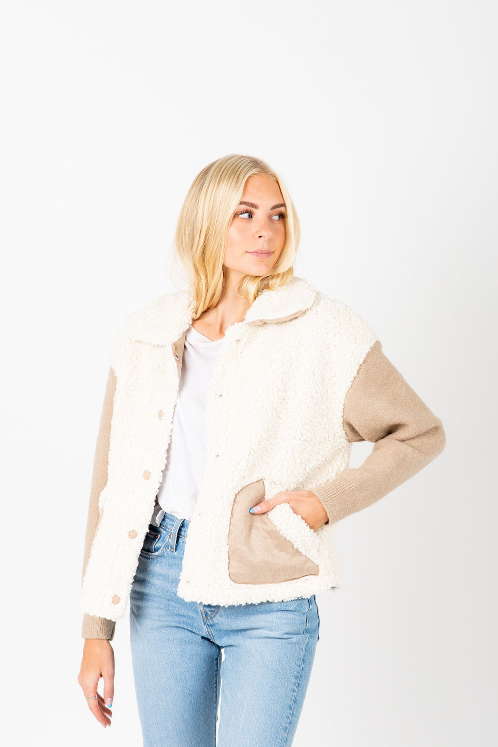 The Hampshire Cozy Jacket in Taupe, studio shoot; front view