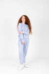 The Jerry Cozy Fleece Jogger in Sky, studio shoot; front view
