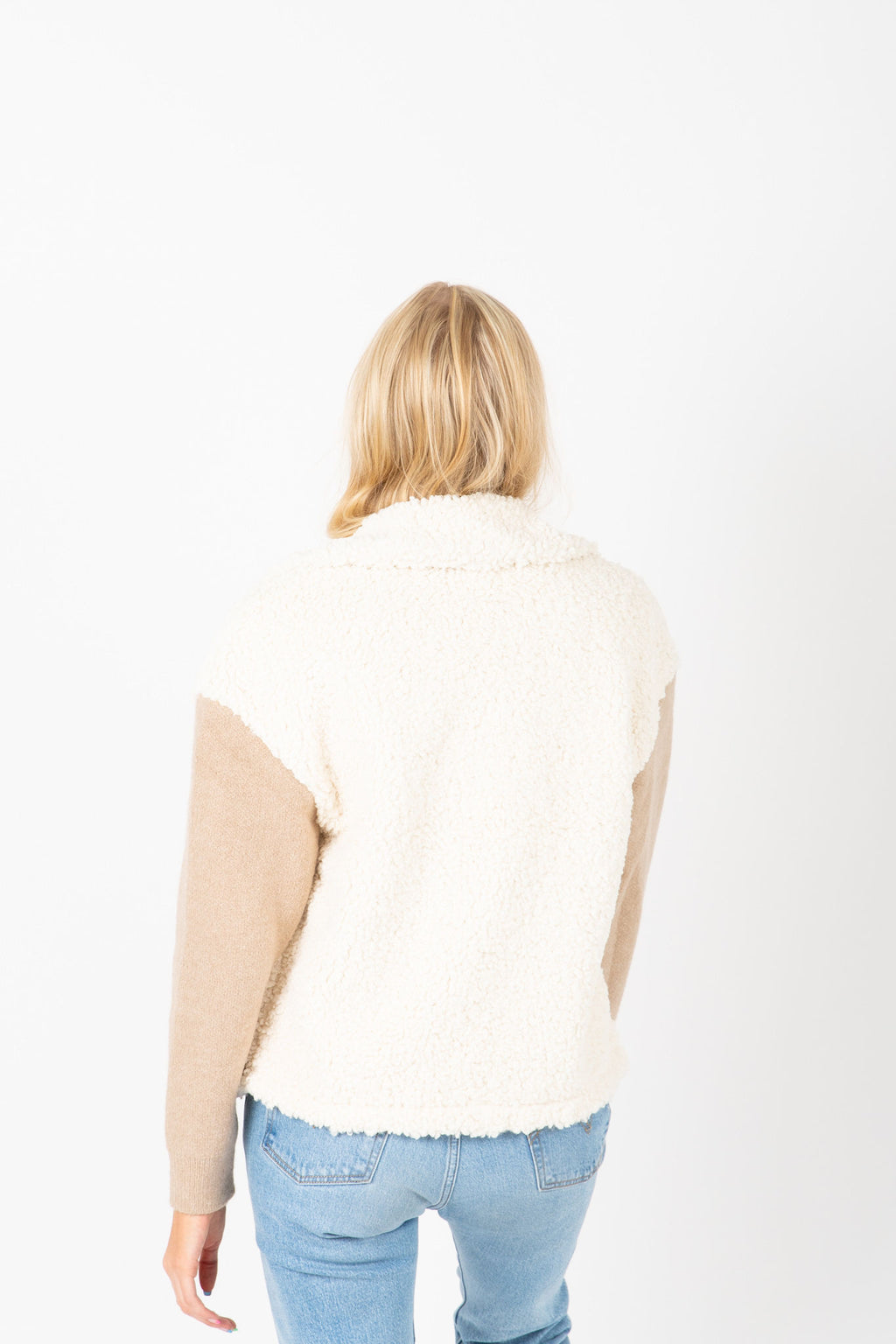The Hampshire Cozy Jacket in Taupe, studio shoot; back view