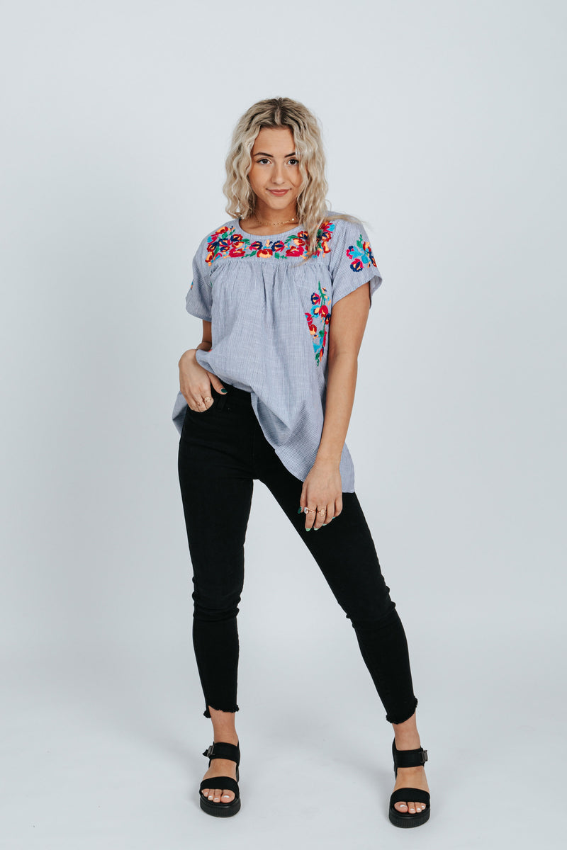 The Brynnli Striped Embroidered Blouse in Blue