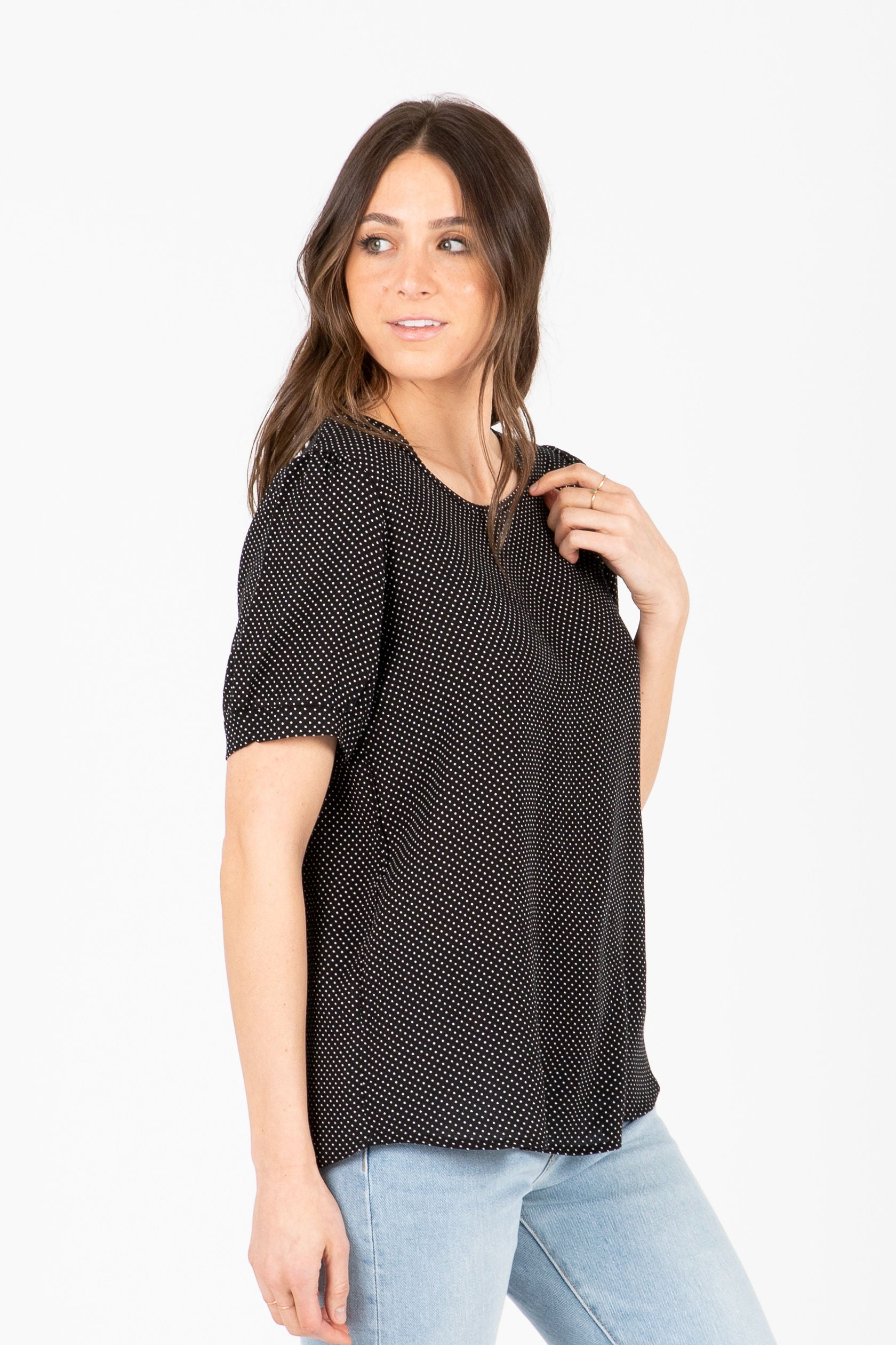 The Arena Dot Blouse in Black