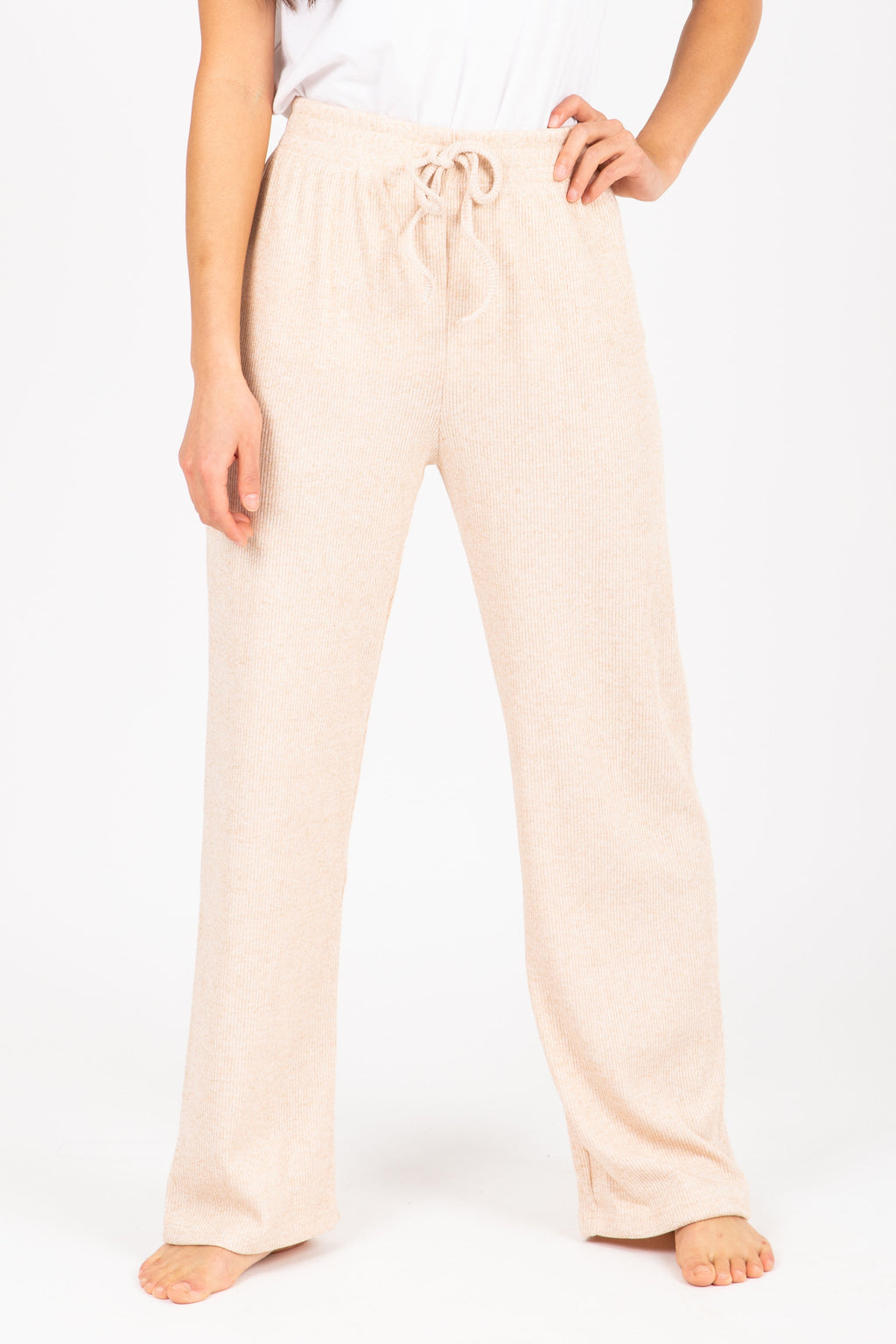 The Griffin Ribbed Trouser Pant in Taupe, studio shoot; front view