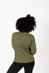 The Alice Button Knit Cardigan in Olive, studio shoot; back view