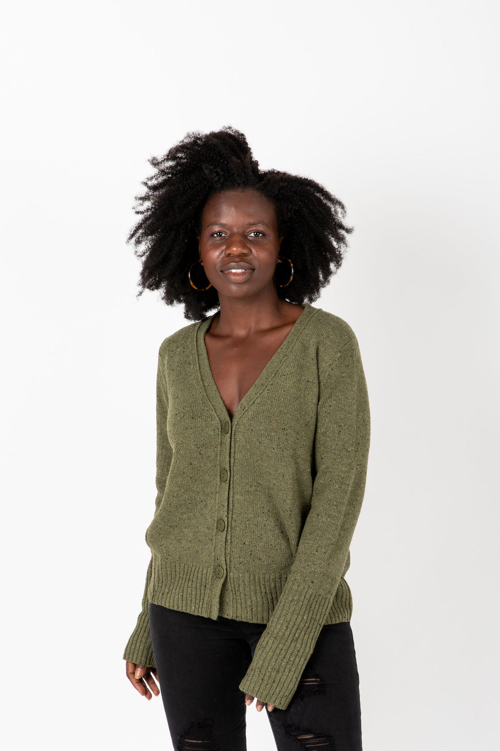 The Alice Button Knit Cardigan in Olive, studio shoot; front view