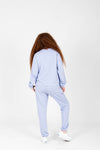 The Jerry Cozy Fleece Jogger in Sky, studio shoot; back view