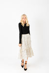 The Felicity Patterned Midi Skirt in Cream, studio shoot; front view