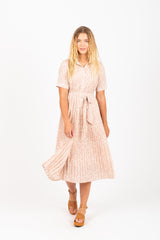 The Ricki Floral Pleated Collared Dress in Blush