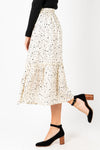 The Felicity Patterned Midi Skirt in Cream, studio shoot; side view