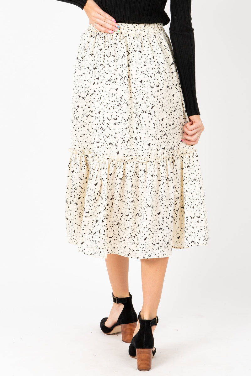 The Felicity Patterned Midi Skirt in Cream, studio shoot; back view